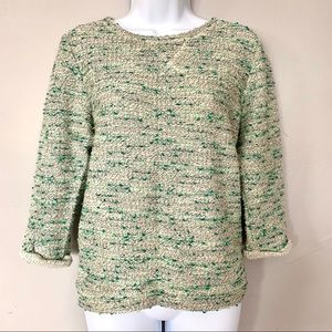 🍀H&M Green and Cream Speckled Sweater 3/4 Sleeve